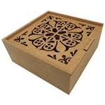 Caixa Estojo Quadrada em MDF com 4 Divisões Arabesco Duplo 20x20x8,3cm - Palácio da Arte