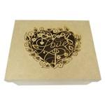Caixa Laser Love Coração Floral em MDF