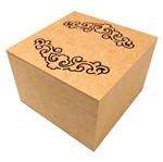 Caixa Quadrada em MDF com Dobradiça e 4 Divisões Arabesco 15x15x10,5cm - Palácio da Arte