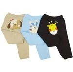 Calça Bebê Masculina Bordado no Bubum Kit com 3 Unidades-P