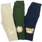 Calça Bebê Masculino Bordada Bichinhos Kit com 3 Unidades-P