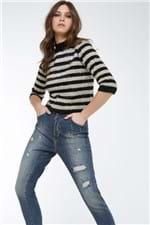 Calça Boy Vista Botões e Rasgados Jeans Medio - 36