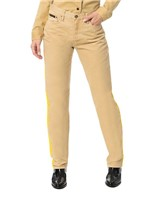 Calça Color Calvin Klein Jeans 5 Pckts Straight High Caqui Claro - 36