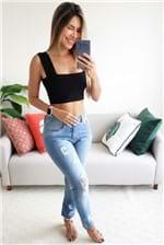 Calça Farm Fem Boyfriend Jeans - Azul