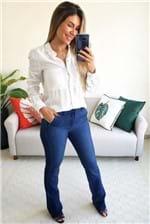 Calça Flare Colcci Jeans Bia Botão Escondido - Azul