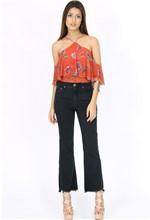 Calça Flare Cropped Jeans Collor 36