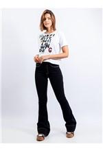 Calça Flare Jeans com Detalhe Pesponto - 36