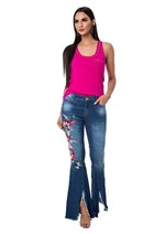 Calça Jeans Bordado Lateral