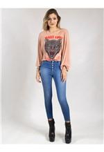 Calça Jeans com Botões e Elástico na Barra 40