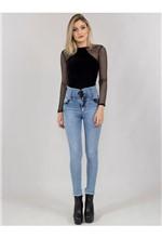Calça Jeans com Corpete e Ilhós 36