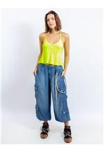 Calça Jeans com Correntes e Bolsos Laterais 38