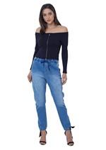 Calça Jeans com Cós de Elástico