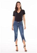 Calça Jeans Cropped com Barra Diferenciada