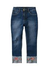Calça Jeans Cropped com Bordado Malwee Azul Escuro - 34
