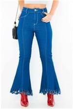 Calça Jeans Feminina Cropped Flare Desfiada CL0558 - Kam Bess