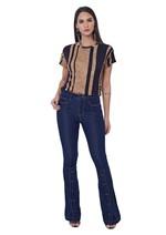 Calça Jeans Flare com Abertura de Botões na Barra