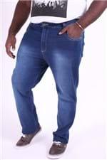 Calça Jeans Reta Masculina Blue Plus Size 54