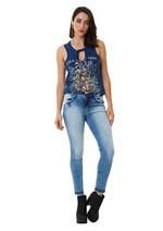 Calça Jeans Skinny Claro com Barras Diferenciadas