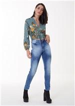 Calça Jeans Skinny com Costura Lateral Diferenciada