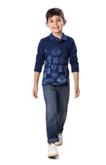 Calça Jeans Tradicional Estonada Menino Malwee Kids Azul Escuro - 2