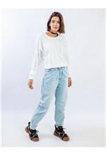 Calça Mom Jeans Elástico e Cinto Bordado Calça Mom Jeans Elástico Frente e Cinto Bordado 38