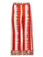 Calça Pantacourt de Seda Estampada Vermelha Tamanho 46
