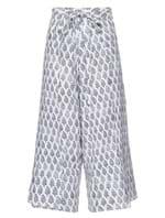 Calça Pantacourt Tahiti de Linho Estampada Branca Tamanho P