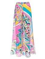 Calça Pantalona de Seda Estampada Rosa Tamanho 42