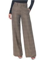 Calça Pantalona Xadrez - Caqui Claro -36