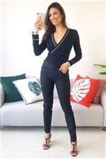 Calça Skinny Forum Sarja Resinada Marisa com Bolsos - Preto