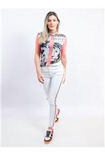 Calça Sknny Jeans Branca com Faixa de Strass na La - 36