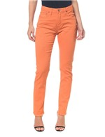 Calças Color Five Pockets High Rise Slim - Laranja - 34