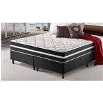 Cama Box Bipartido Casal 1,38x1,88 Premium + Colchão de Molas Master Confort Black Firme