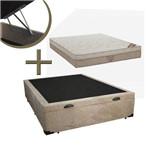 Cama Box Baú Suede + Colchão Elegant Nanolastic Casal (138x188x27) - Molas Nanolastic, Ortopillow - Ortobom
