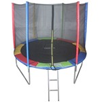 Cama Elástica de 3,05m Colorida Pula Pula + Escada + Rede