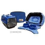 Cama Pet Kit Berlim 6 Pçs Patinhas Azul -M Caminha Cachorro Porte Pequeno Binnopet