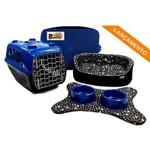 Cama Pet Kit Dubai 06 Pçs Preto Patinhas -P C/azul Cama para Cachorro Porte Pequeno Binnopet