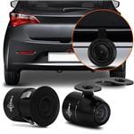 Câmera de Ré Borboleta Universal 2 em 1 Colorida Para-choque com Linhas Auxiliares Preta 12v