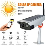 Câmera de Segurança Externa Bateria Interna Solar Áudio Wifi Onvif Internet 1080p