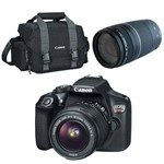 Câmera Digital T6 18mp EOS 18-55mm + Lente Profissional EF75-300 F4-5.6III e Bolsa | Canon