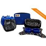 Caminha Pet Kit Dubai 06 Pçs Preto Uau -P C/azul Cama para Cachorro Porte Pequeno Binnopet