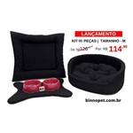 Caminha Pet Kit Dubai M 05 Pçs C/ Rosa Cama Cachorro Colchonete Black M