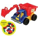 Caminhão Bell Toy Bell Truck Builder com Caçamba e Braço Articulado - 50 Blocos - Azul/vermelho