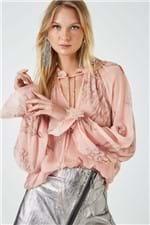 Camisa Amarração Lurex Est Coral Rose - 36