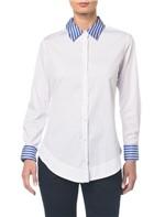 Camisa C Gola Listrada - Off White - 36