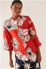 Camisa Cantão Longa Estampa Sakura Tijolo - Vermelho