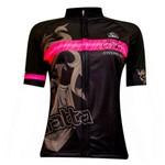 Camisa Ciclismo Feminina Brasão Preta/rosa Damatta