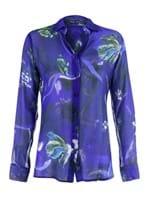 Camisa Clássica de Seda Estampada Azul Tamanho 38