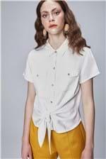 Camisa Color com Amarração Feminina