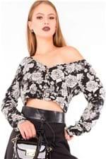 Camisa Cropped Estampa Floral BL4039 - Kam Bess